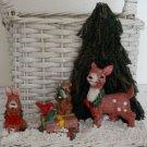 Vintage White Basket Sisal Tree Reindeer Christmas Scene