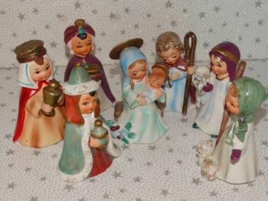 Vintage Christmas Nativity Set Josef Original Figures Ceramic Japan