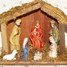 Small Nativity Christmas Set Figures Creche Manger Stable Barn Figures