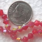 175 RED AB 4mm BICONE GLASS  BEADS ~Z6