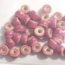 35 ROSE 3mm to 6mm Long X 8mm round CERAMIC  BEADS ~ F309