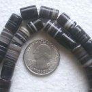 ONE STRAND BLACK BANDED ONYX CYLINDER 10to13mmX8 to9mm SEMI PRECIOUS BEADS ~Z40