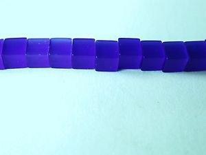 50 BEAUTIFUL 4X4 BLUE CATS EYE GLASS CUBE BEADS ~ cb25