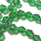 100 EMERALD GREEN BICONES CZECH GLASS  BEADS  6mm   LOT ~A62