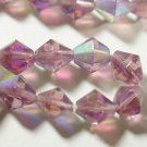 100 AMETHYST AB BICONE GLASS  BEADS 6mm   LOT ~A85