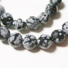 ONE STRAND SNOWFLAKE OBSIDIAN SEMI PRECIOUS  6mm FACETED  BEADS   LOT ~A47