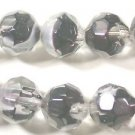 20 CLEAR with BLACK & WHITE SWIRL ROUND FACETED  GLASS  BEADS   11mm   LOT ~A94