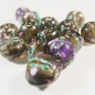 14 GOLDEN & PURPLE WITH ACCENTS LAMPWORK GLASS  BEADS  6 mmX9 mm   LOT ~A14