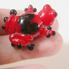 ONE RED & BLACK FROG LAMPWORK  FOCAL GLASS  BEAD 1 INCH      LOT ~A43