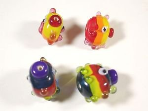 4 LAMPWORK FISH GLASS  BEADS   LOT ~A23