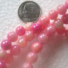 3 STRANDS HOT PINKS MOTHER OF PEARL COATED 7.5mm  GLASS  BEADS ~Z12