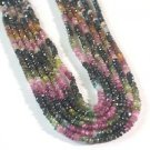 ~ ONE STRAND MULTI COLORED TOURMALINE 4mm RONDELLE  BEADS ~F261