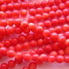 ~  RED CORAL 4 mm ROUND  SEMI PRECIOUS  BEADS ~ sp542