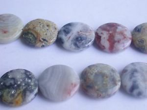 ~ CRAZY LACE AGATE 20MM FLAT ROUND  SEMI PRECIOUS STONE BEADS ~ sp98