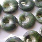 ~ DARK GREEN JADE WITH BLACK 15 mm ROUND  SEMI PRECIOUS STONE BEADS ~ sp293a