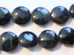 ~  BLACK TIGER EYE 15mm FLAT ROUND  SEMI PRECIOUS  BEADS ~ sp410