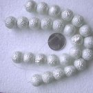 13 WHITE FAUX PEARLS BUMPY COATED  16.5mm  GLASS CENTER  BEADS ~Z62C