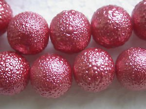 30 DARK PINK BUMPY GLASS 14mm GLASS WITH TEXTURED ENAMEL COATED  BEADS ~Z48
