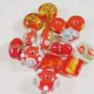 14 ORANGE & YELLOW TONES MIXED GLASS  BEADS  LOT ~A31
