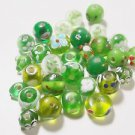 30 GREEN TONED  8mm TO 11mm GLASS  BEADS     LOT ~A32