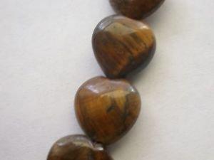 ~ TIGER EYE 15mm HEART SHAPED  SEMI PRECIOUS  BEADS ~ sp452