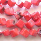 ~ RED CORAL 7-8mm IRREGULAR SQUARE 0n DIAGONAL  SEMI PRECIOUS  BEADS ~ sp540
