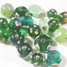 18 MULTI COLORED GLASS  BEADS  MULTI SIZED LOT ~A13