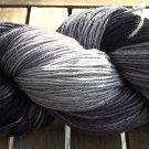 Hand Dyed Yarn - Black & Grey- Merino Wool, Fingering Yarn 100gr