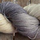 Hand Dyed Yarn - Ecru & Grey #2 - Merino Wool,  Fingering Yarn 100gr