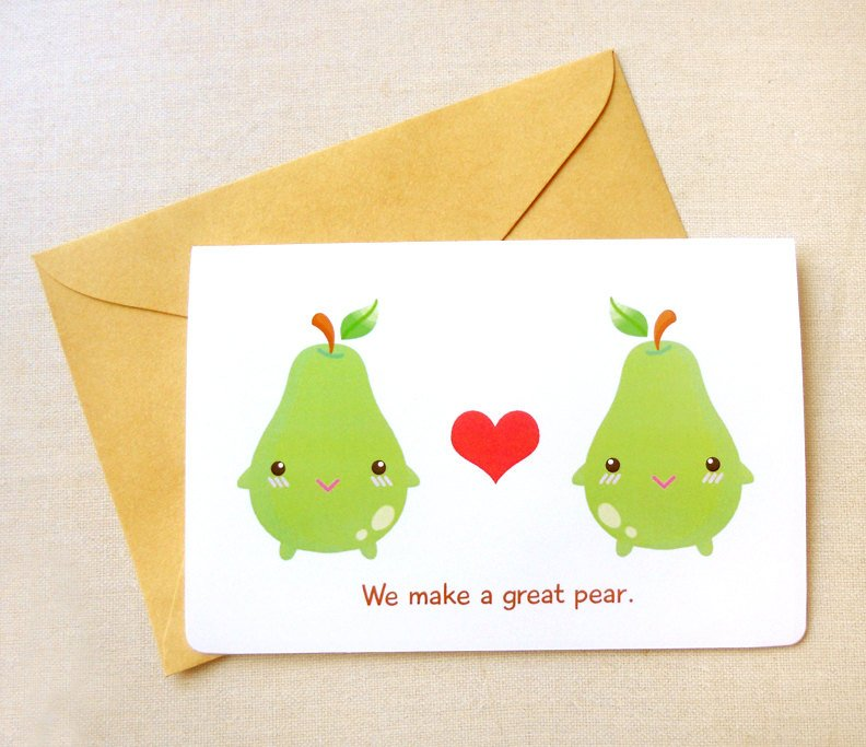 "We Make a Great Pear 4x6"" Greeting Card - Cute Fruits Valentine's Day Card, I Love You Card"