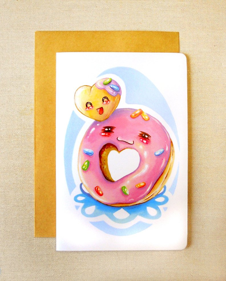 """Cute Donut & Donut Hole Friends 4x6"""" Inch Greeting Card, BFF Notecard, Valentine's Day Card"""