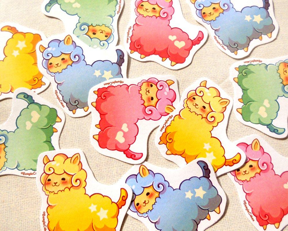 Kawaii Alpaca Stickers Pack of 12: Cute Pastel Animal Llama Planner Stickers