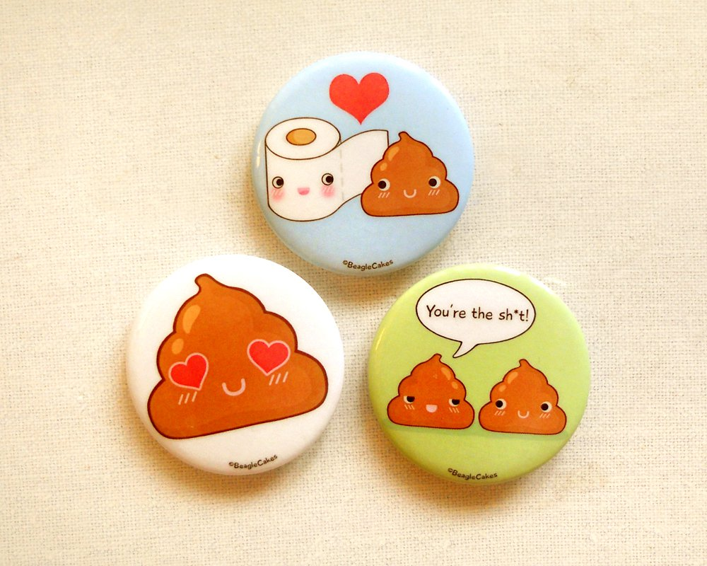 "Cute Toilet Paper and Poop 1.75"" Pinback Button Set of 3, Funny Toilet Humor Pin Badges"