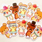 Cute Bear Sticker Pack of 10: Kawaii Illustrated Teddy Bear Stickers, Planner Stickers