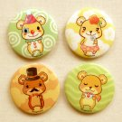 "Cute Teddy Bears 2.25"" Magnet Set: Kawaii Bears Fridge Magnet Set of 4"