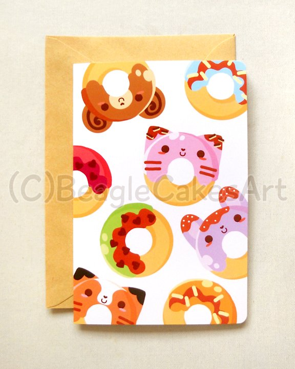 Kawaii Colorful Donuts 4x6'' Greeting Card - Kawaii Colorful Animal Doughnuts Birthday Card