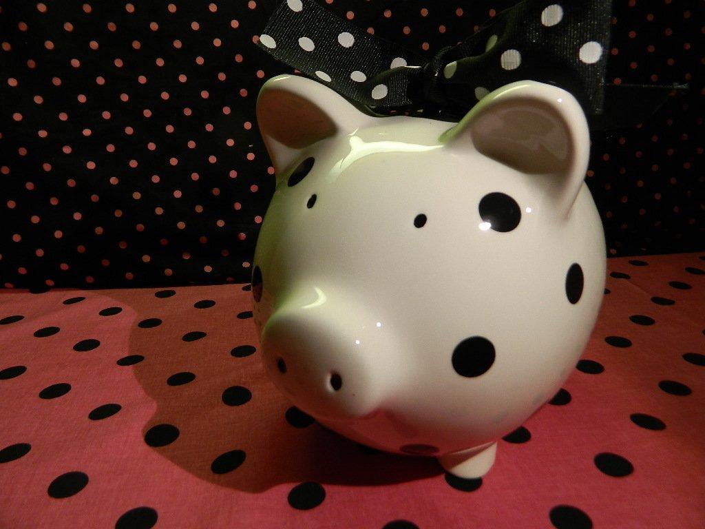 Piggy Bank: Polkadot B&W