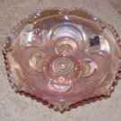 "1978 Imperial Lenox Pink Carnival Glass 7-1/2"" Crimped Bowl NOS"
