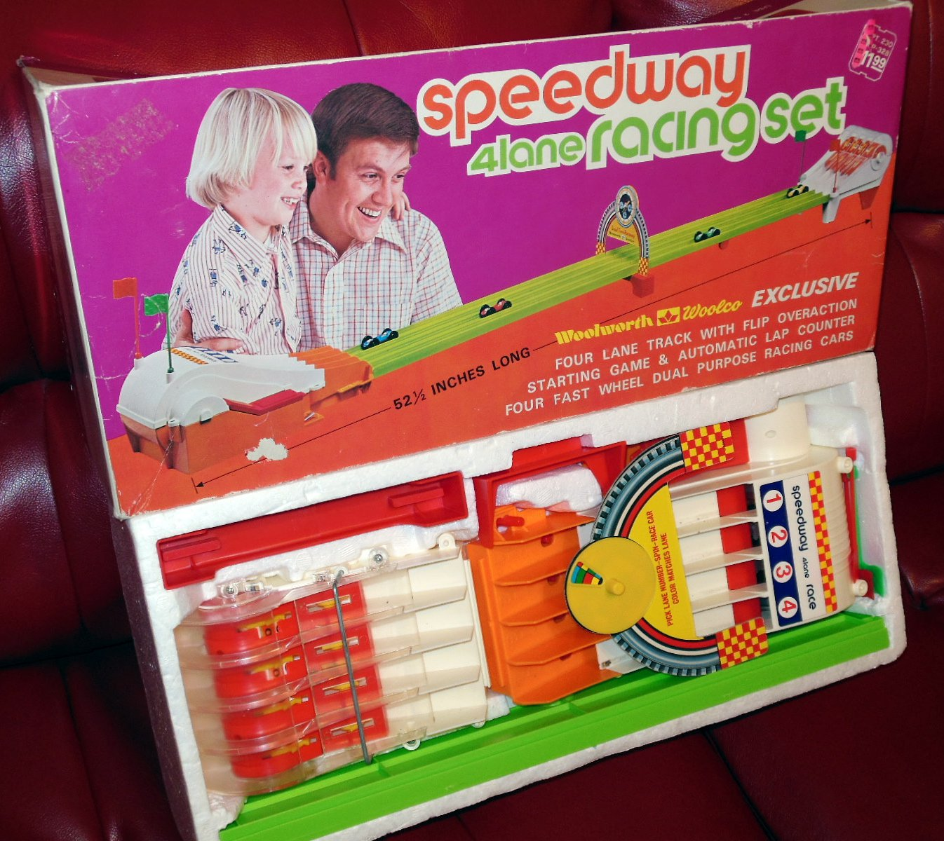 1970's Woolworth Woolco Battery Opp Speedway 4 Land Race Set