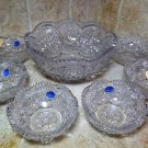 """1940's Imperial Glass 7pc """"WHEELS"""" Berry Set #3888 / 3885-1/2A Rare NOS Find"""