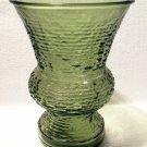"""Vintage Napco Serano Pattern Glass 8"""" Vase in Olive Green"""