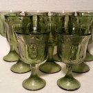 Vintage Green Depression Glass Goblet Set of 9