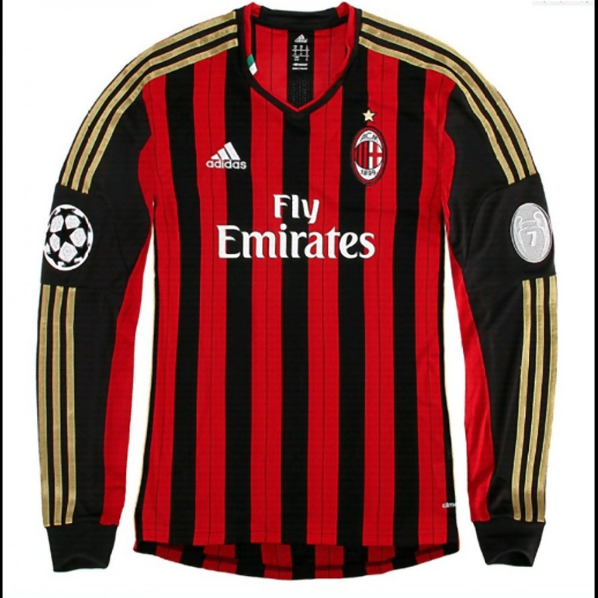 AC Milan Adidas Home 2014/2015 Soccer Long Sleeve Jersey (S)