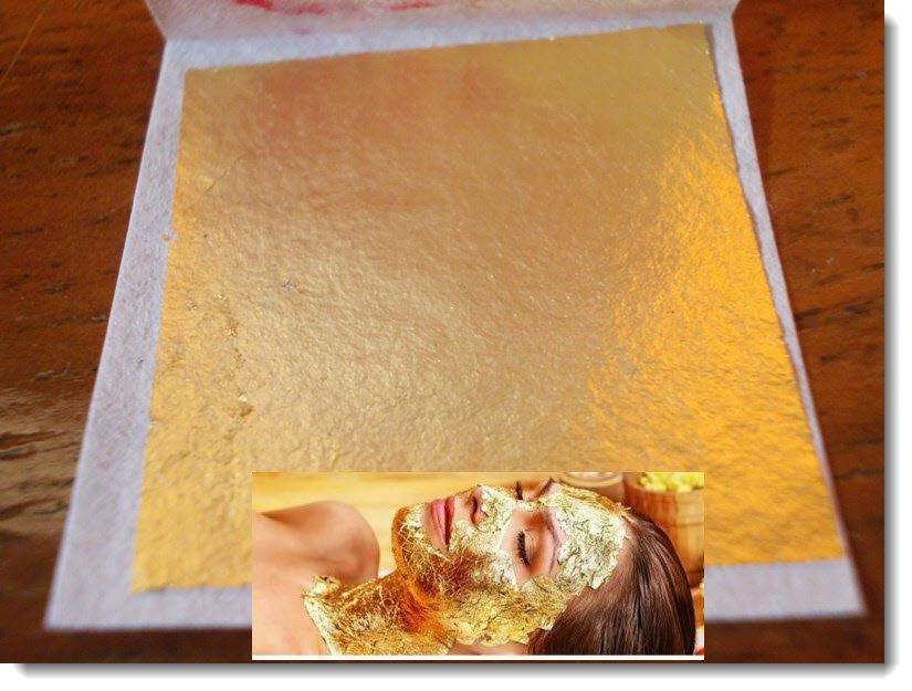 Full 5 pcs.24K Genuine Real Gold Leaf for Facial Mask Skin Treatment& Anti-aging