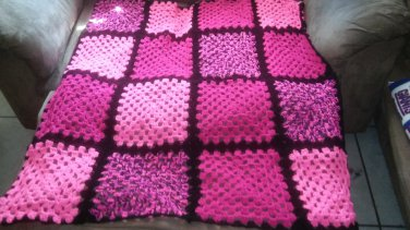 pink themed block blanket