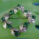 BROOCH / PIN: sterling 925 silver Emerald Green Gem Stones Wreath