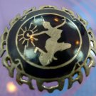 BROOCH sterling MADE IN SIAM - NIELLO enamel - UNUSUAL NAVY ROYAL BLUE COLOR