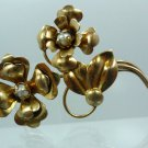 "BROOCH / PIN: sterling 925 RARE & COLLECTIBLE Golden Harry Iskin ""HI"" Flower"
