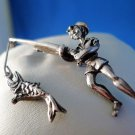 BROOCH / PIN: 900 silver vintage 1950'S PETER PAN w/ fish on pole