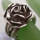 RING sz 6 TESTED but not marked HAND CRAFTED OPEN ROSE